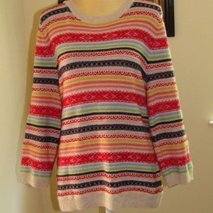 TALBOTS rainbow stripe sweater size XL colorful